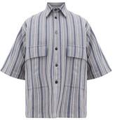 Jil Sander Striped Cotton-blend Canvas Shirt - Mens - Blue