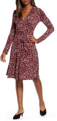 Leota Perfect Long Sleeve Faux Wrap Dress
