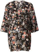 Dorothy Perkins **Maternity Black Floral Belted Wrap Top