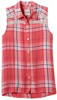 Mudd Girls 7-16 Sleeveless Button-Down Sleeveless Plaid Shirt