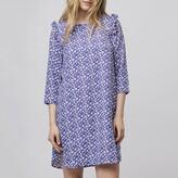 Compania Fantastica Floral Print Short Shift Dress with Ruffled Shoulders