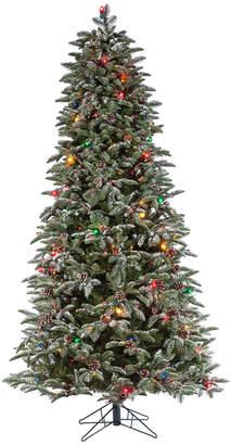 Sterling Tree Company 7.5Ft Flocked Pre-Lit Hard Mixed Needle Boise Pine W/ Warm White Lights