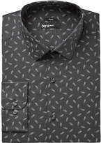 Bar III Men's Slim-Fit Stretch Easy Care Charcoal Paperclip Print Dress Shirt, Created for Macy's
