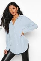 boohoo Leah Oversized Soft Touch Denim Shirt
