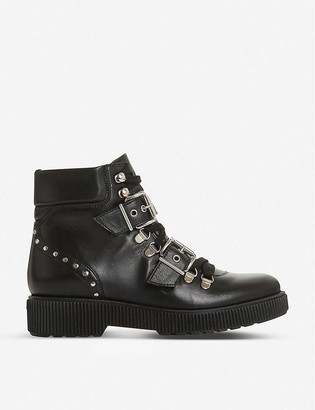 Bertie Provoked buckle hiker leather platform boots
