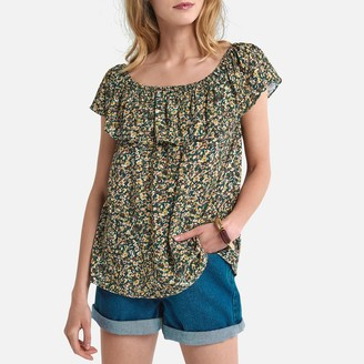 La Redoute Collections Ruffled Bardot Blouse in Floral Print
