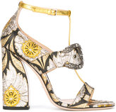 Gucci floral element sandals - women - Silk/Leather/Polyamide/Metal (Other) - 38