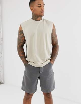 BEIGE Asos Design ASOS DESIGN relaxed sleeveless t-shirt with dropped armhole and side split in