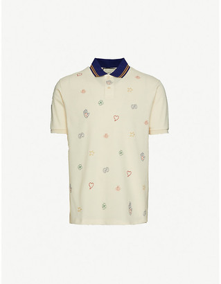Gucci Graphic-print stretch-cotton pique polo shirt
