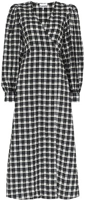 Ganni Seersucker Check Wrap Midi Dress