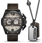 Diesel Ironside Chronograph Leather-Strap Watch & Dogtag Necklace Gift Set