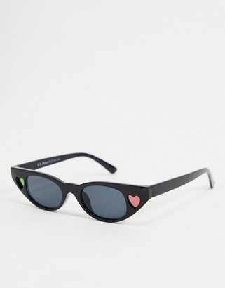 A. J. Morgan AJ Morgan square sunglasses in black with heart detail