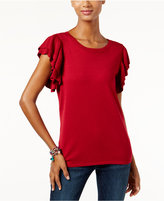 INC International Concepts Petite Ruffle-Sleeve Sweater, Only at Macy's