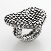 Silver tone studded heart stretch ring