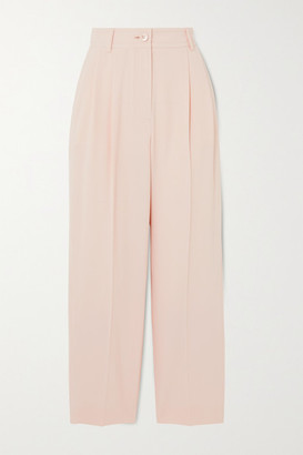 See by Chloe Cropped Pleated Crepe Straight-leg Pants - Pastel pink