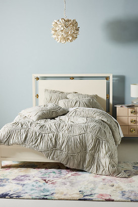 Anthropologie Ruched Wave Quilt By in Grey Size Q top/bed