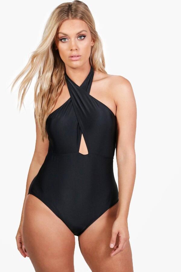 boohoo Plus Katy Wrap Front Halter Neck Swimsuit