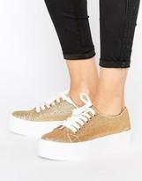Sixty Seven Sixtyseven Flatform Glitter Laceup Sneaker