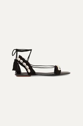 Aquazzura Honolulu Suede And Shell Sandals - Black