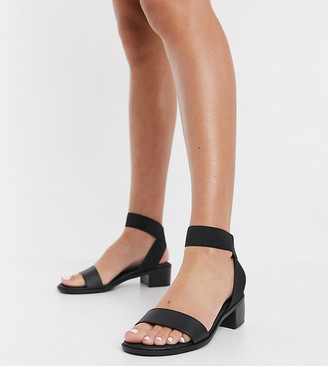 New Look Wide Fit elasticated strap sandals in black