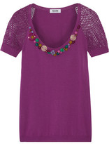 Moschino Cheap & Chic Moschino Cheap and Chic Embellished Knitted Cotton Top