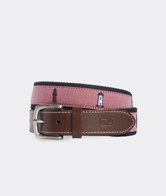 Vineyard Vines Lighthouse Embroidered Canvas Club Belt