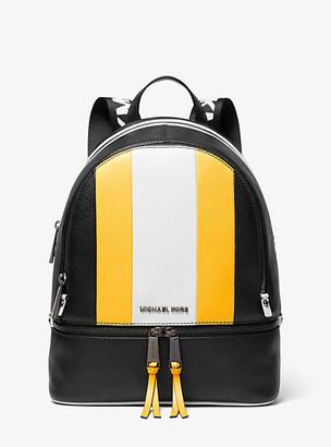 Michael Kors Rhea Medium Striped Pebbled Leather Backpack