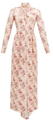 Paco Rabanne Crystal-button Floral-print Jersey Maxi Dress - Womens - Light Pink