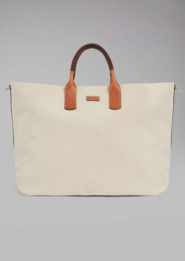Giorgio Armani Holdall In Fabric With Leather Details