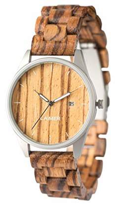 LAiMER wood watch ULLI - mens wristwatch made of 100% Zebrano wood and stainless steel case - nature & luxury lifestyle