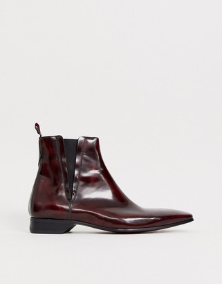 Jeffery West escobar chelsea boot in red high shine leather