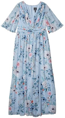 Adrianna Papell Printed Floral Chiffon Gown (Glacier Multi) Women's Dress