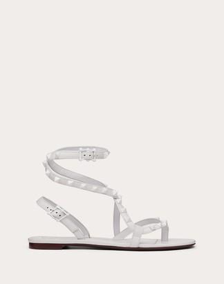 Valentino Rockstud Flair Nappa Leather Flat Thong Sandal Women Optic White Lambskin 100% 36