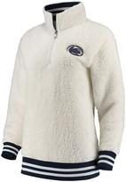Unbranded Women's Cream Penn State Nittany Lions Varsity Banded Sherpa Quarter-Zip Pullover Jacket