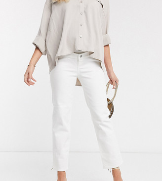 ASOS DESIGN Maternity high rise 'stretch' straight jeans in optic white