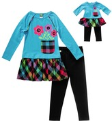 Dollie & Me Blue & Plaid Flower Leggings Set & Doll Outfit - Girls