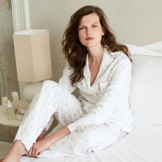 The White Company Brushed-Cotton Lille Floral Pyjama Set, White Grey, Extra Small