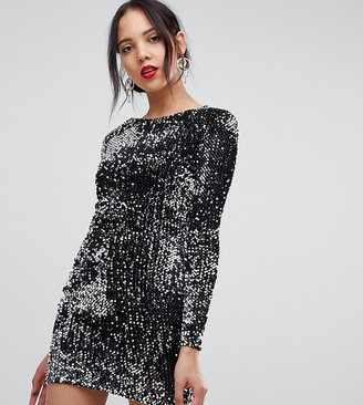 Parisian Tall all over sequin high neck dress