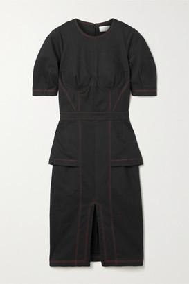 Fleur Du Mal Cotton-blend Canvas Midi Dress - Black