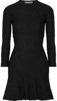Alexander McQueen Wool-blend Cloqué Mini Dress - Black