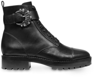 MICHAEL Michael Kors Frieda Buckle Leather Combat Boots