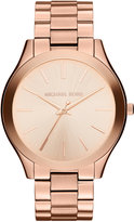 Michael Kors Women's Slim Runway Rose Gold-Tone Stainless Steel Bracelet Watch 42mm MK3197