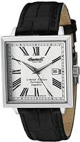 Ingersoll Men's Automatic Watch with Silver Dial Analogue Display and Black Leather Strap IN1005SL
