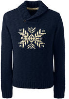 Lands' End Men's Wool Snowflake Shawl Collar Pullover Sweater-White Canvas Birdseye