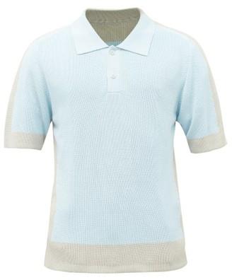 Jacquemus Bi-colour Rib-knitted Polo Shirt - Mens - Light Blue