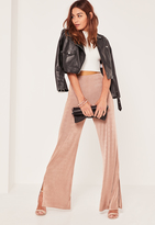 Missguided Nude Slinky Side Split Wide Leg Trousers
