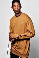 boohoo Longline Sweatshirt With Lace Detail