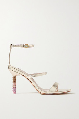 Sophia Webster Rosalind Crystal-embellished Metallic Leather Sandals - Gold