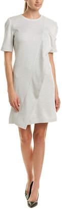 St. John Leather-Trim Wool Shift Dress