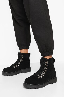 boohoo Wide Fit Fur Trim Lace Up Hiker Boots